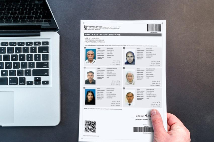 frc family registration certificate  online nadra card